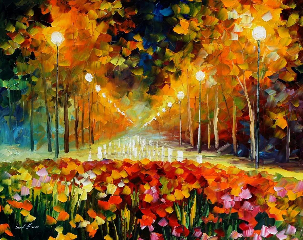 "ALLEY OF ROSES  — PALETTE KNIFE Oil Painting On Canvas By Leonid Afremov - Size 30""x24"" (offer)"