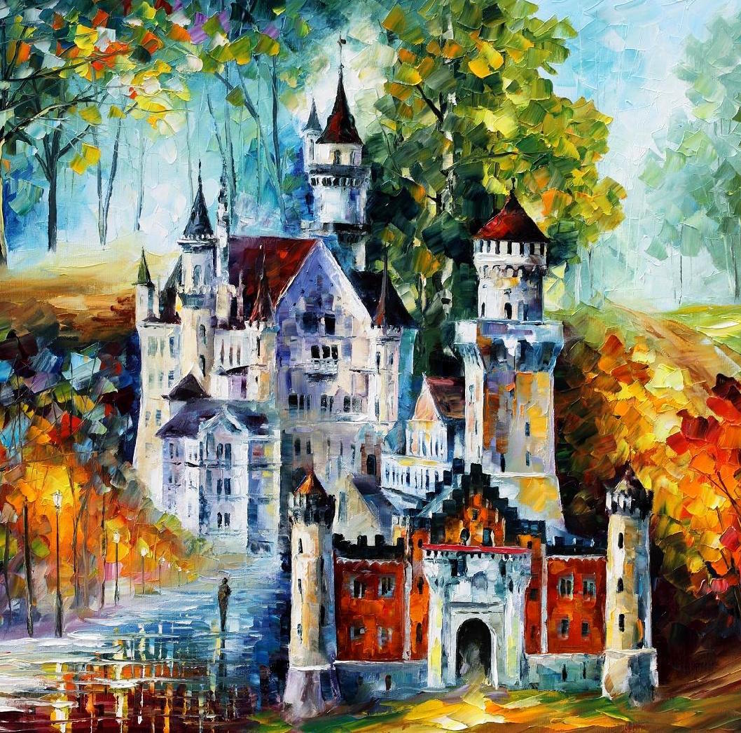 "MAGICAL CASTLE — PALETTE KNIFE Oil Painting On Canvas By Leonid Afremov - Size 40""x 60""  (100cm x 150cm)"