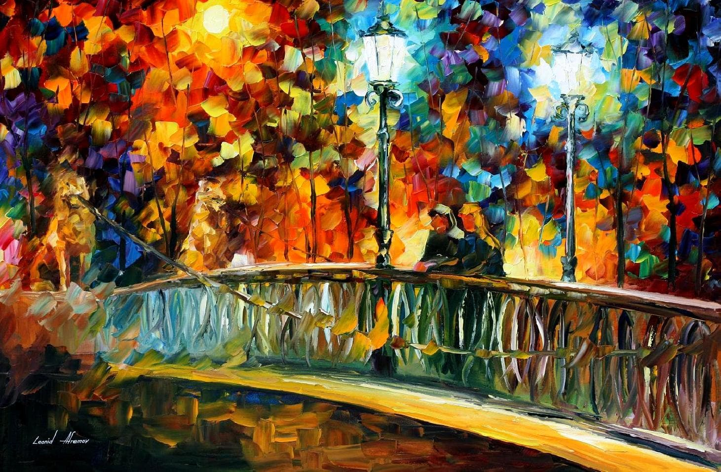 Leonid afremov oil on canvas palette knife buy original for Oil paint colors names
