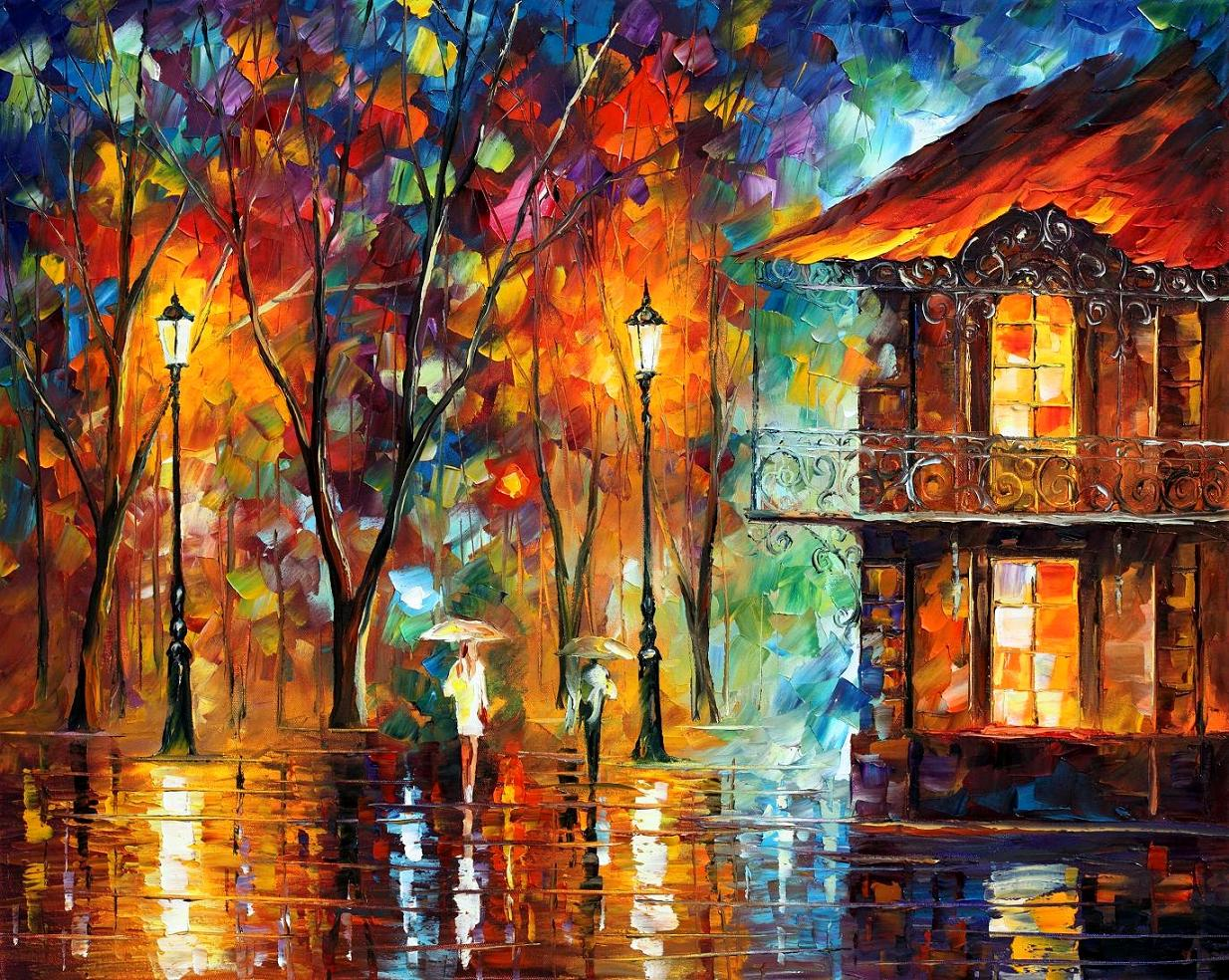 Impressionist Paintings With Color Red And People Walking
