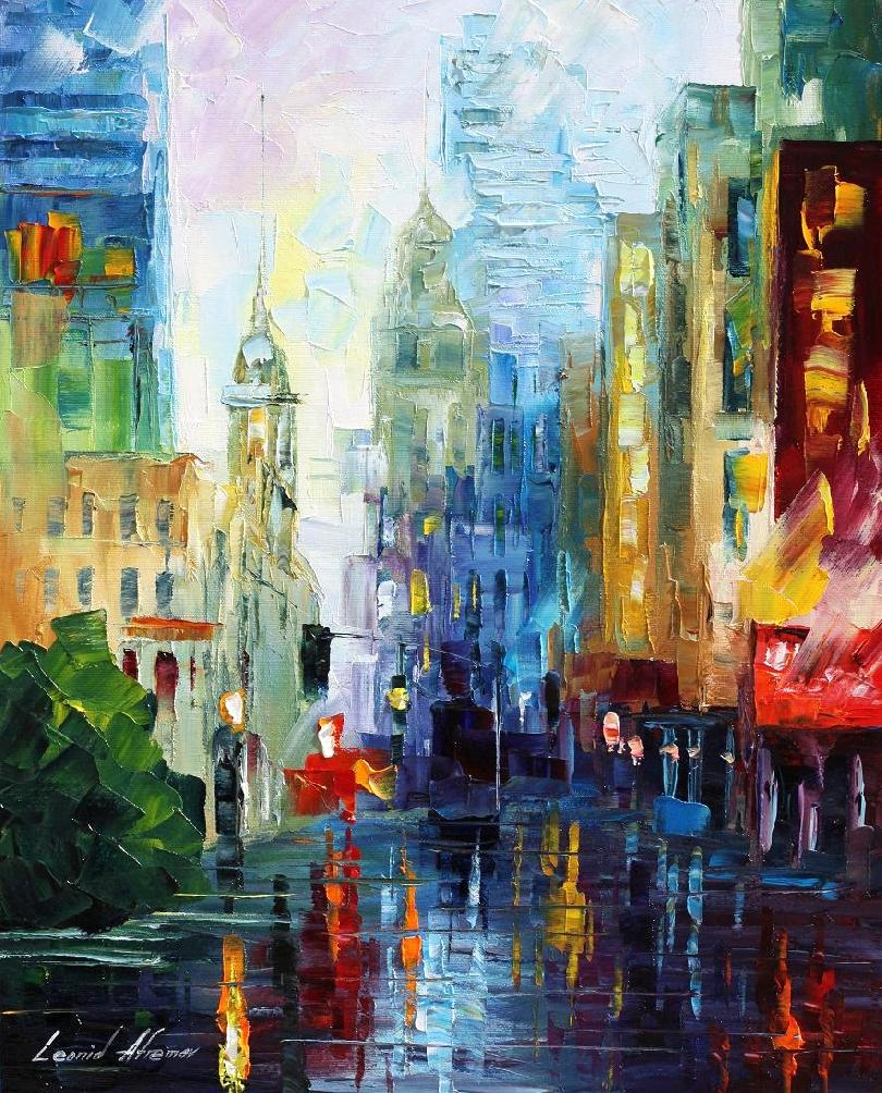 "CITY AFTER THE RAIN — PALETTE KNIFE Oil Painting On Canvas By Leonid Afremov - Size 24""x36""(60cm x 90cm)  (custom made)"