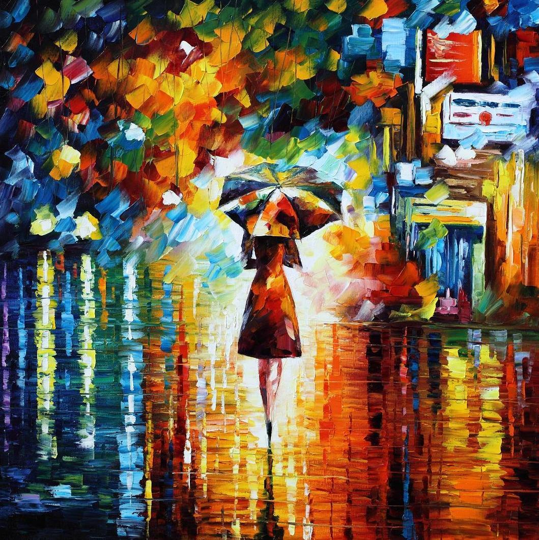 "RAIN PRINCESS — PALETTE KNIFE Oil Painting On Canvas By Leonid Afremov - Size 24""X24"" (offer)"
