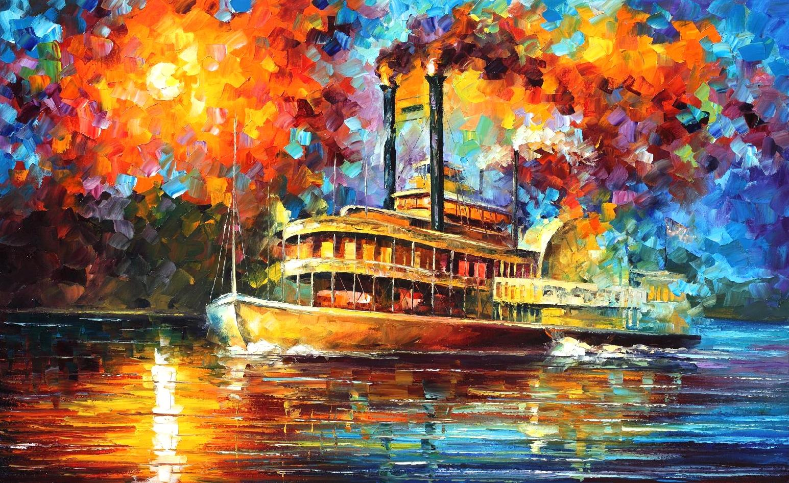 "STEAMBOAT — PALETTE KNIFE Oil Painting On Canvas By Leonid Afremov - Size 40""x30"" offer"
