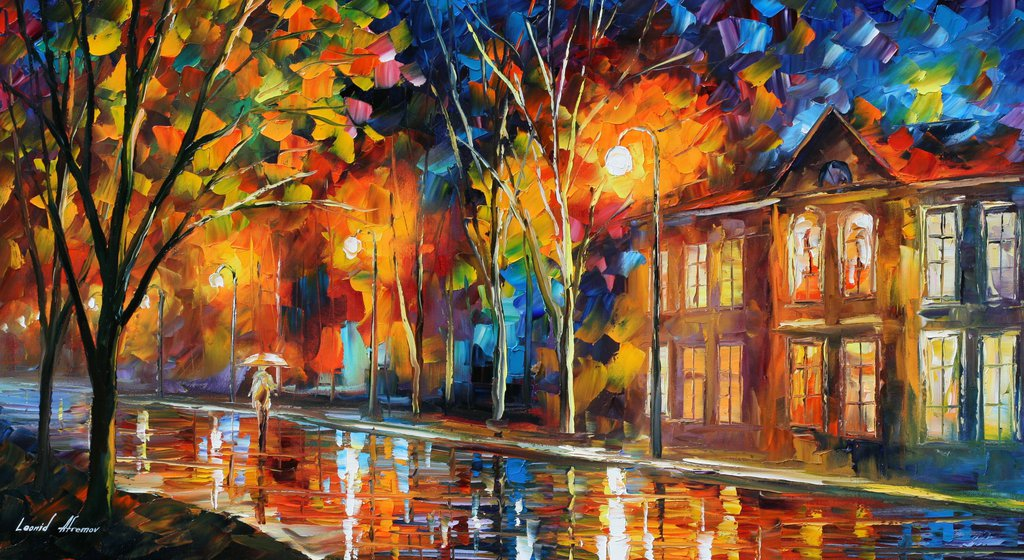 WHEN THE CITY SLEEPS — Original Oil Painting On Canvas By Leonid Afremov - Size 72x48""
