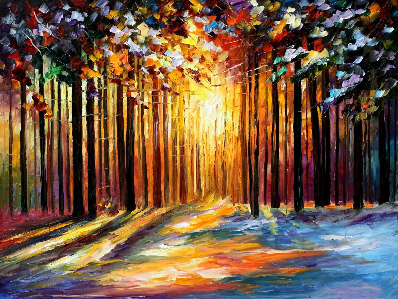 SUN OF JANUARY PALETTE KNIFE Oil Painting On Canvas By Leonid Afremov
