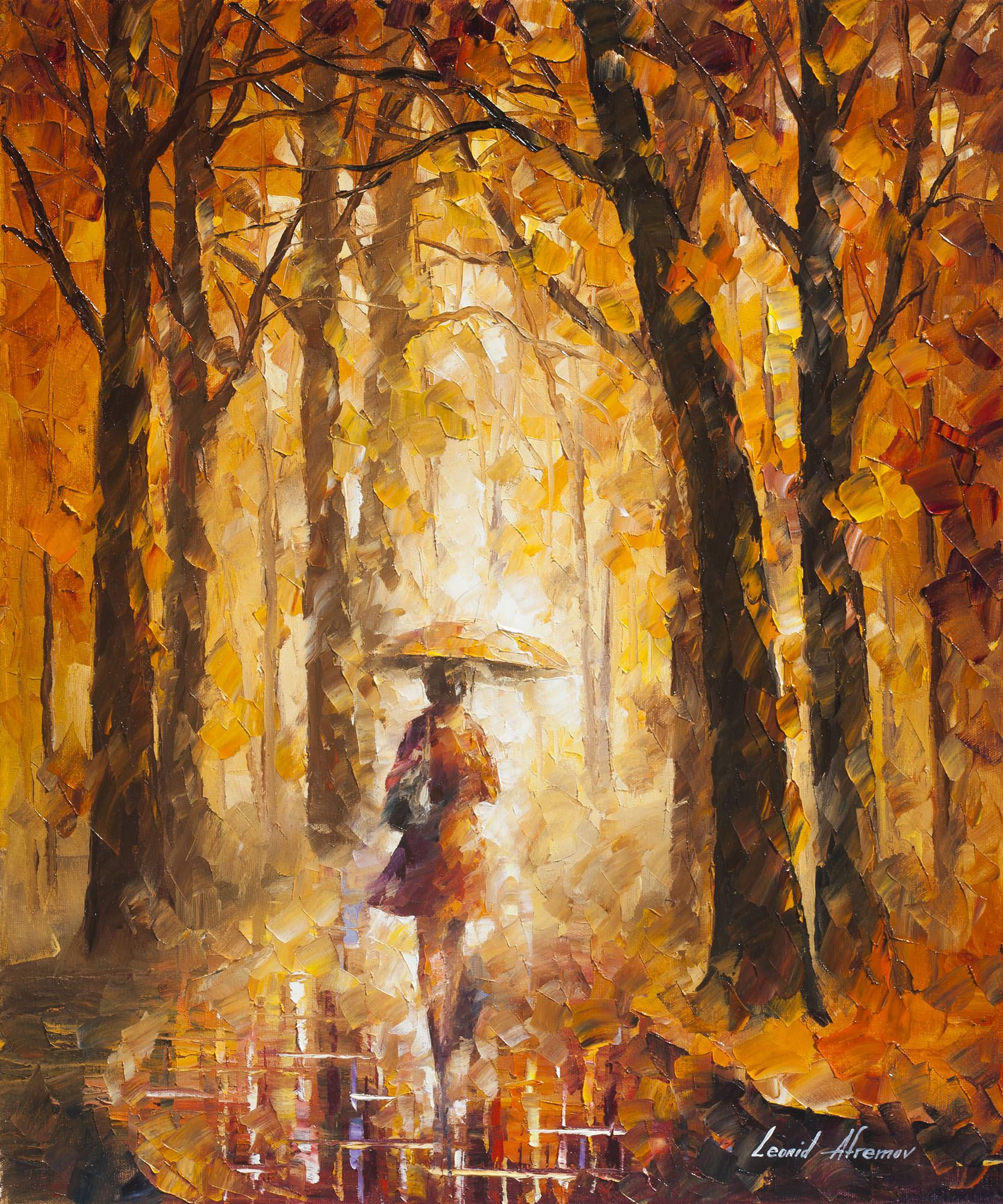 "REASONS FOR RAIN - Palette knife Oil Painting On Canvas By Leonid Afremov - 24""X30"" offer"