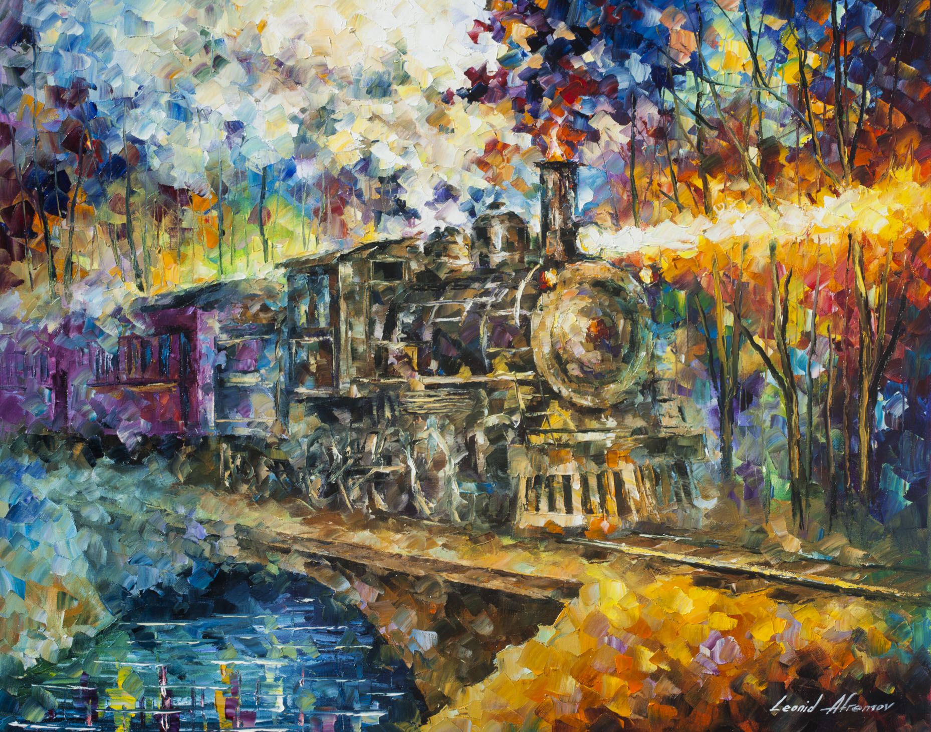 OLD VAPOR TRAIN Original Oil Painting Canvas By