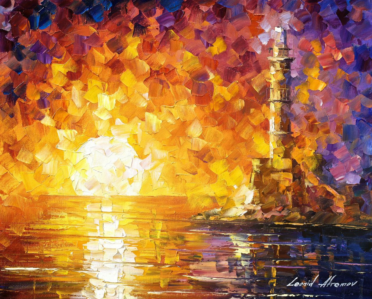 "GLIMPSE TO THE SEA - Oil Painting On Canvas By Leonid Afremov - 24""x20"" offer"