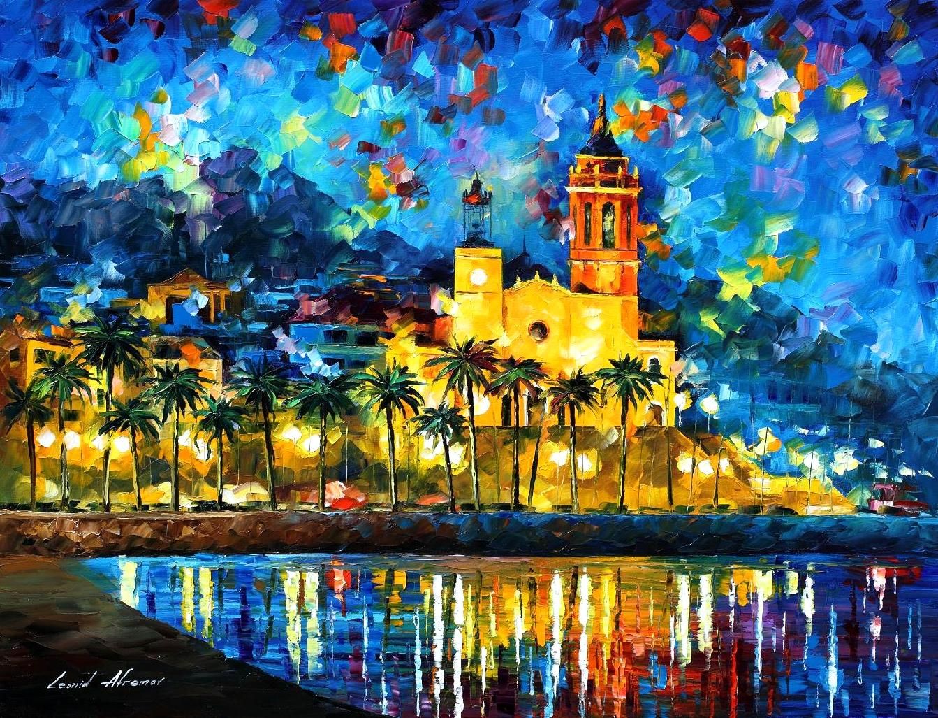 "SPAIN, SITGES — PALETTE KNIFE Oil Painting On Canvas By Leonid Afremov - Size 40""x30""(100cm x 75cm) offer"