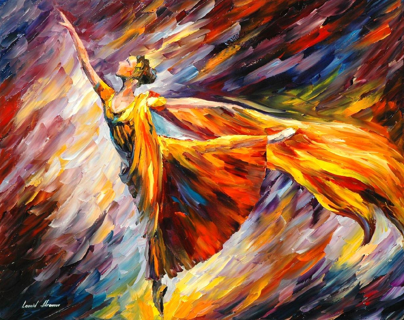 "GOLD WAVE — Palette knife Oil Painting  on Canvas by Leonid Afremov  - Size 30""x24"" (75cm x 60cm) offer"