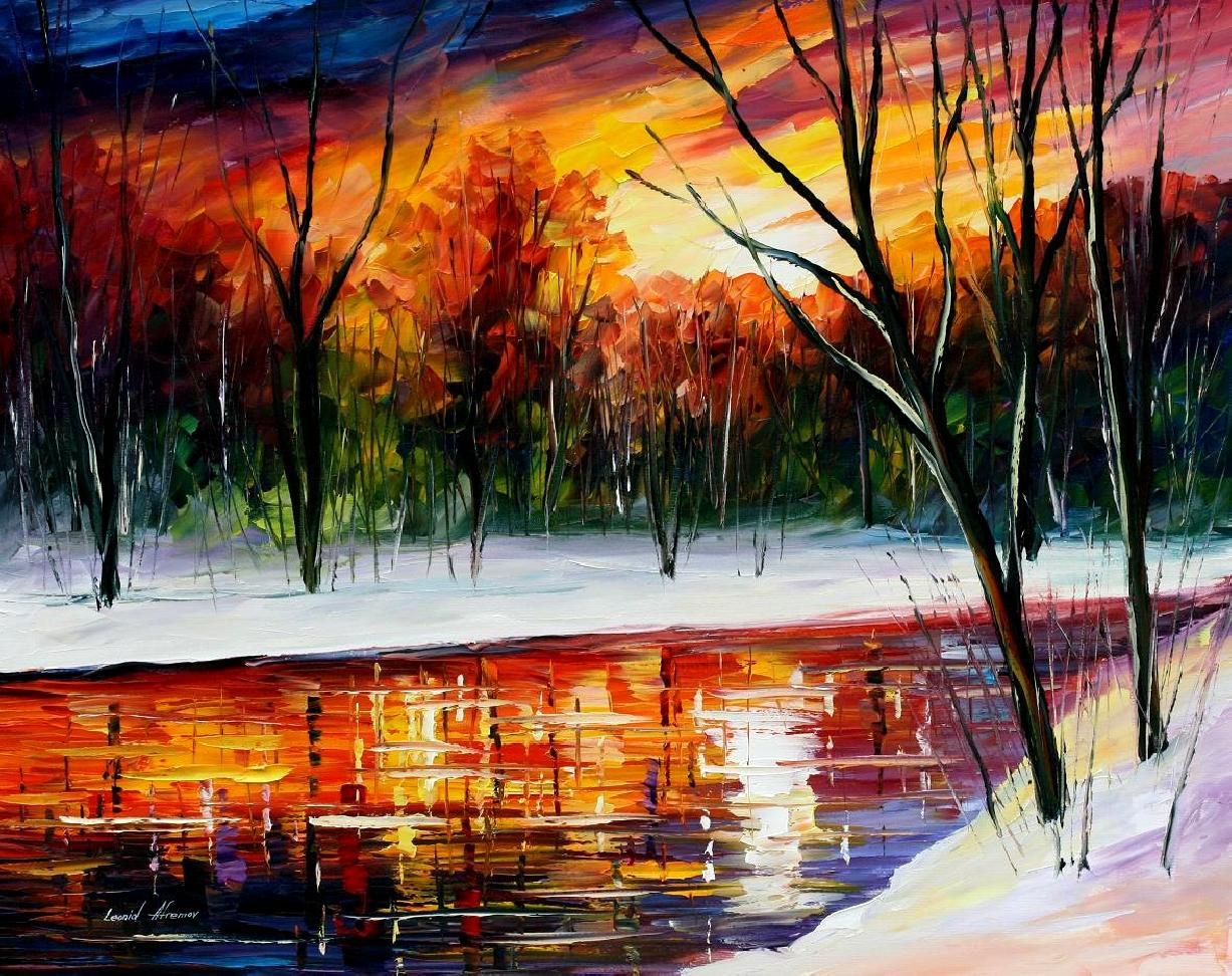 "WINTER SPIRIT— Original Oil Painting On Canvas By Leonid Afremov - Size 54""X40"""