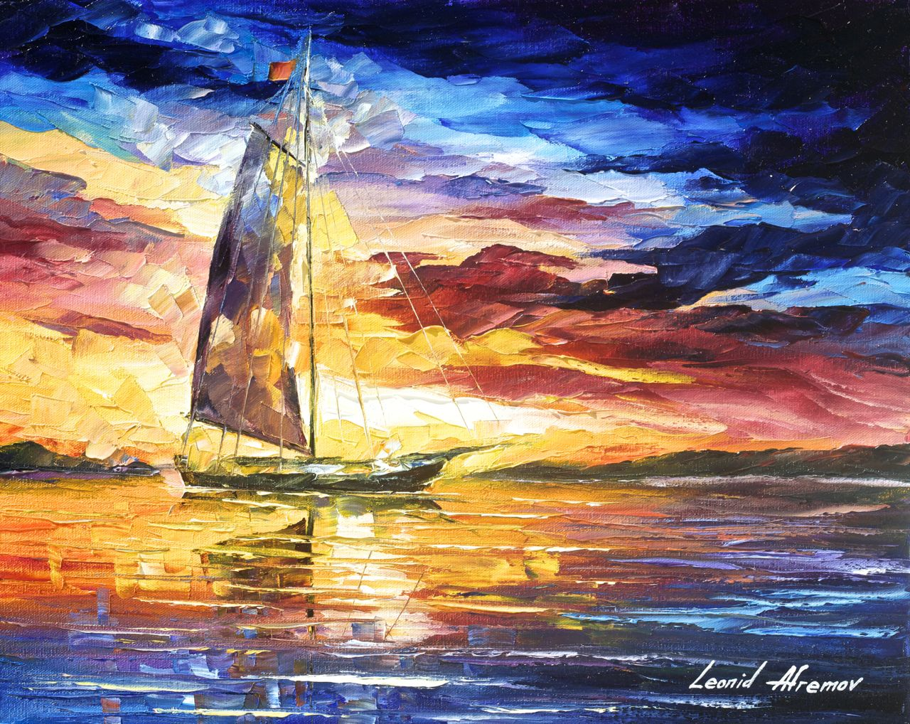 "SAILING IN CANCUN - PALETTE KNIFE Oil Painting On Canvas By Leonid Afremov - 30""x20""  (75cm x 50cm) (high quality recreation)"