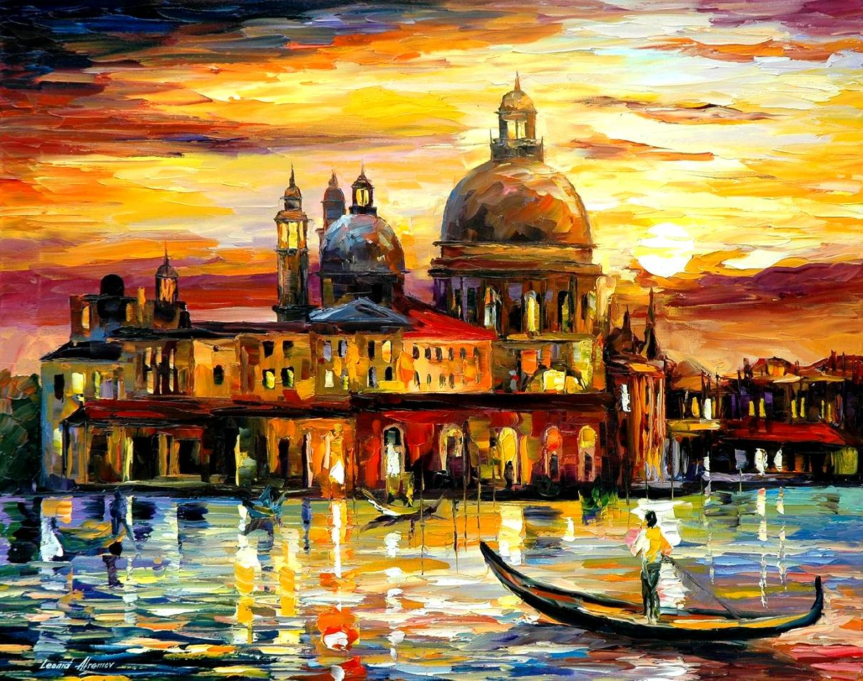 THE GOLDEN SKIES OF VENICE — PALETTE KNIFE Oil Painting On Canvas By Leonid Afremov - Size 200cmx150cm