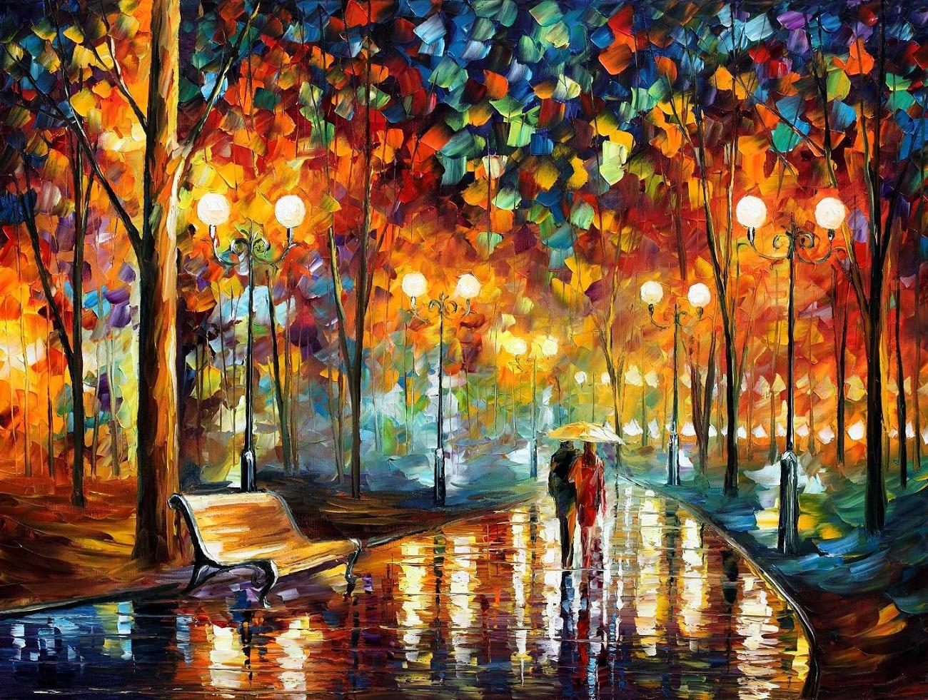 "RAIN'S RUSTLE — PALETTE KNIFE Oil Painting On Canvas By Leonid Afremov - Size 40""x30"" (offer)"