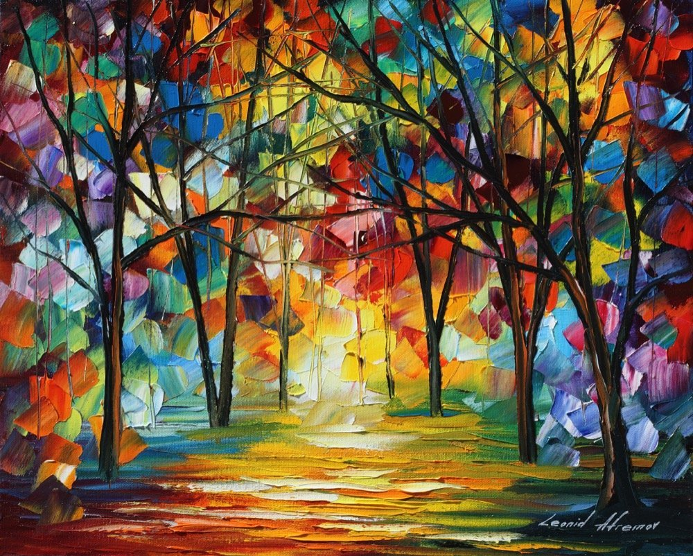 "COLORFUL PATH — PALETTE KNIFE Oil Painting On Canvas By Leonid Afremov - Size 20""X24"""
