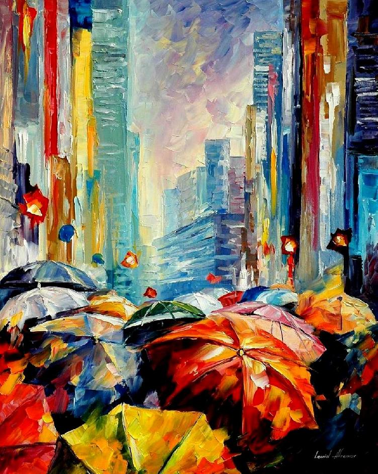 "UMBRELLAS — PALETTE KNIFE Oil Painting On Canvas By Leonid Afremov - Size 60""x72"""