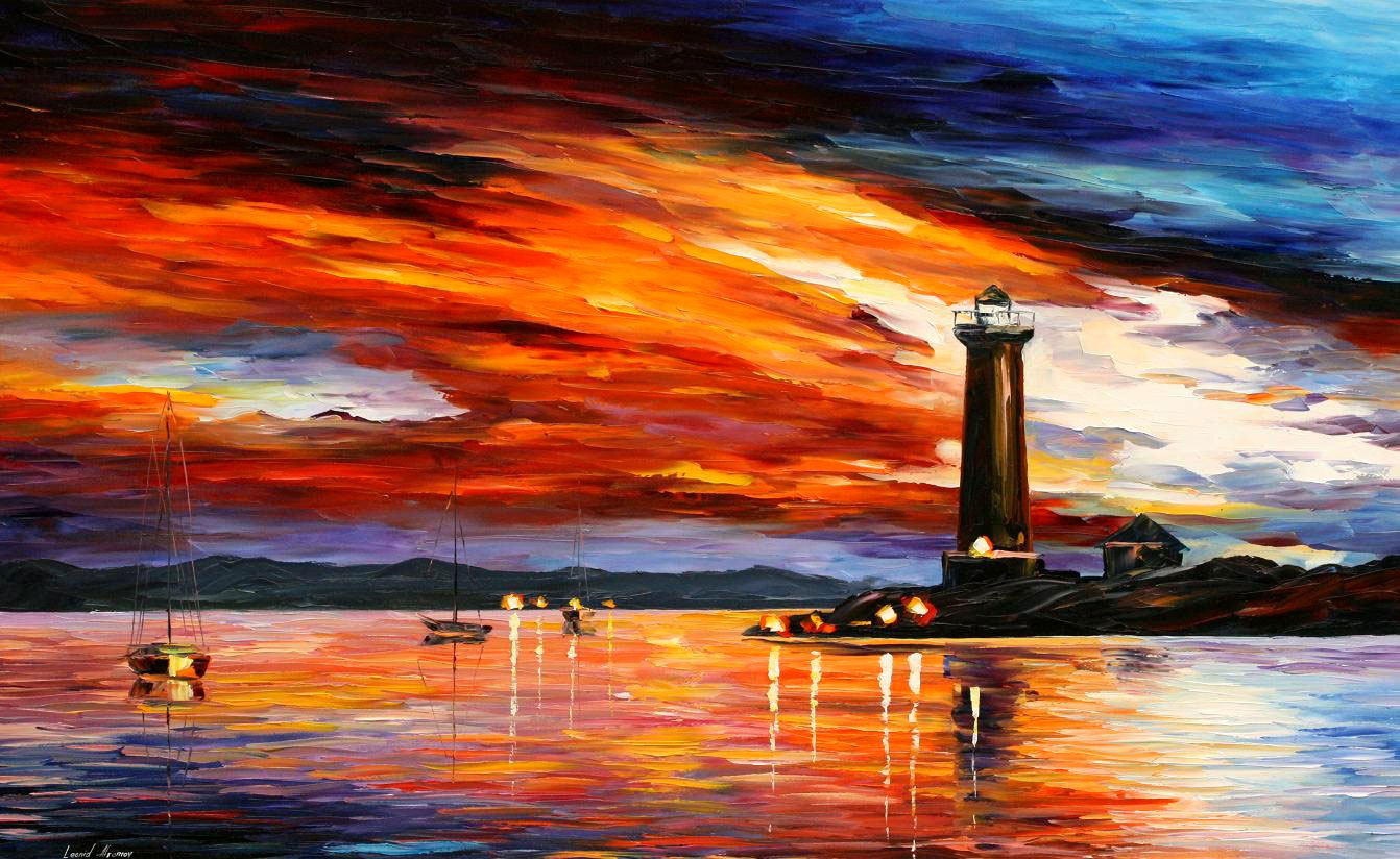 "BY THE LIGHTHOUSE — Original Oil Painting On Canvas By Leonid Afremov - Size 72x48"" (180cm x 120cm)"
