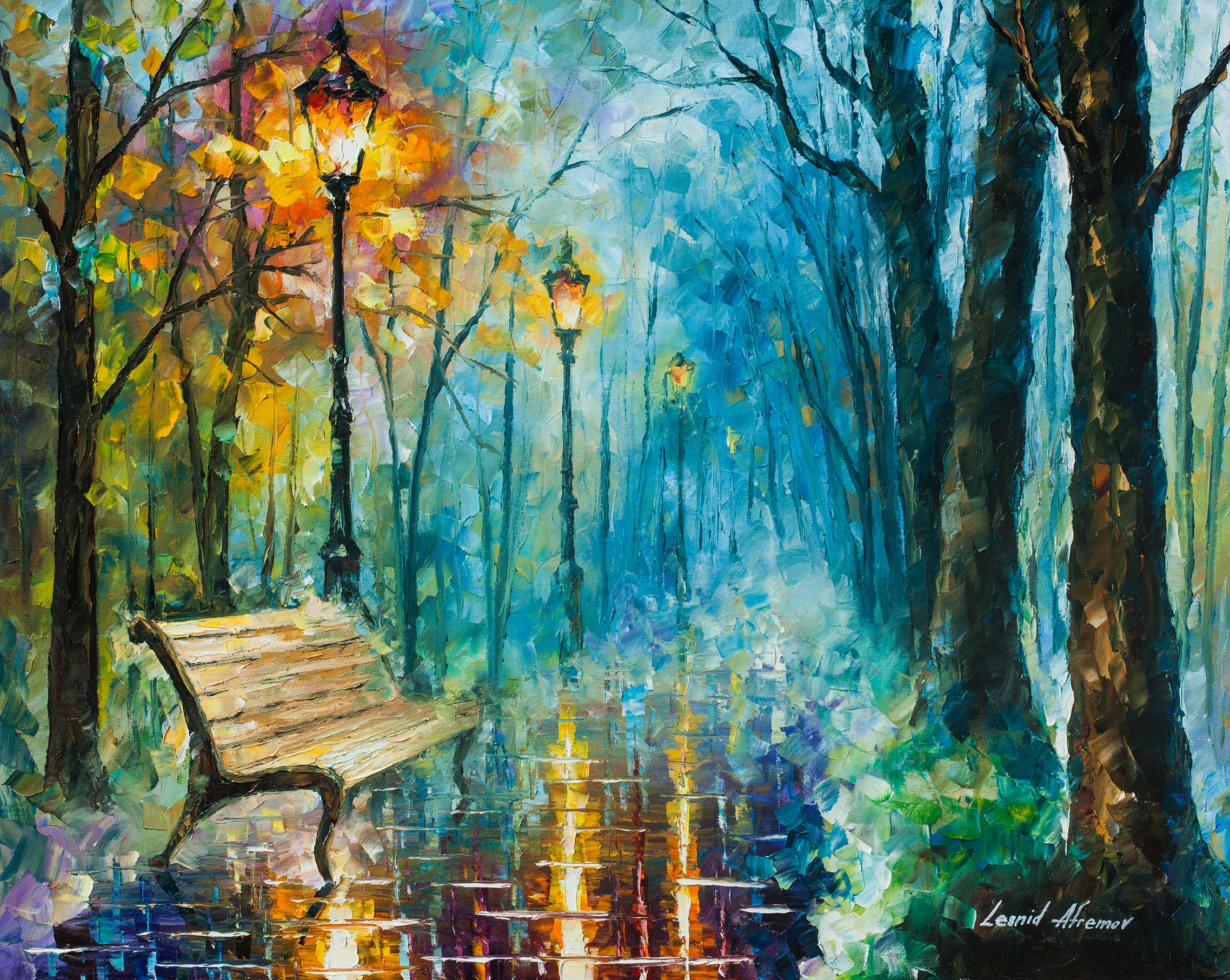 night of inspiration palette knife oil painting on