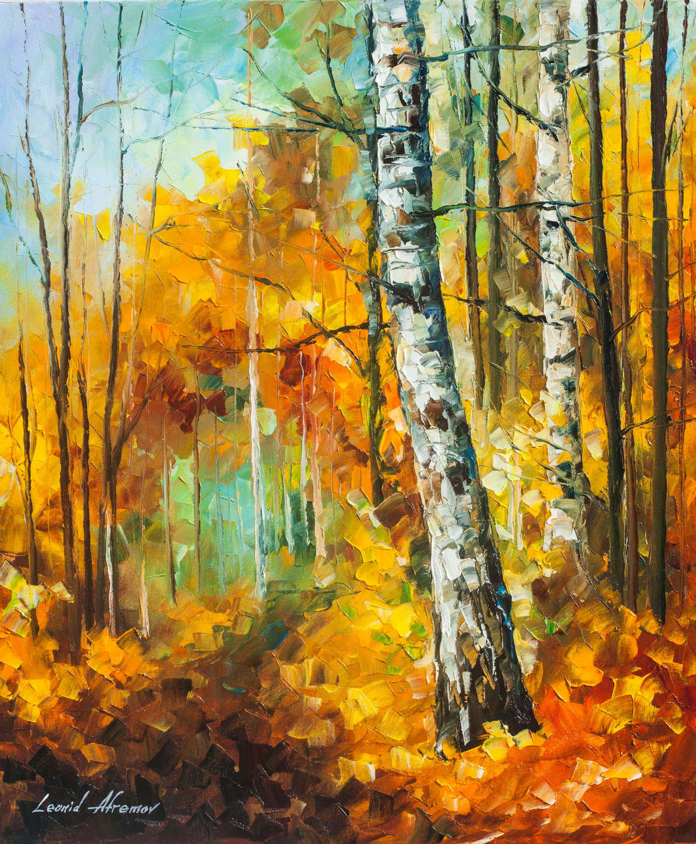 ROARING BIRCH -Palette Knife Oil Painting On Canvas By