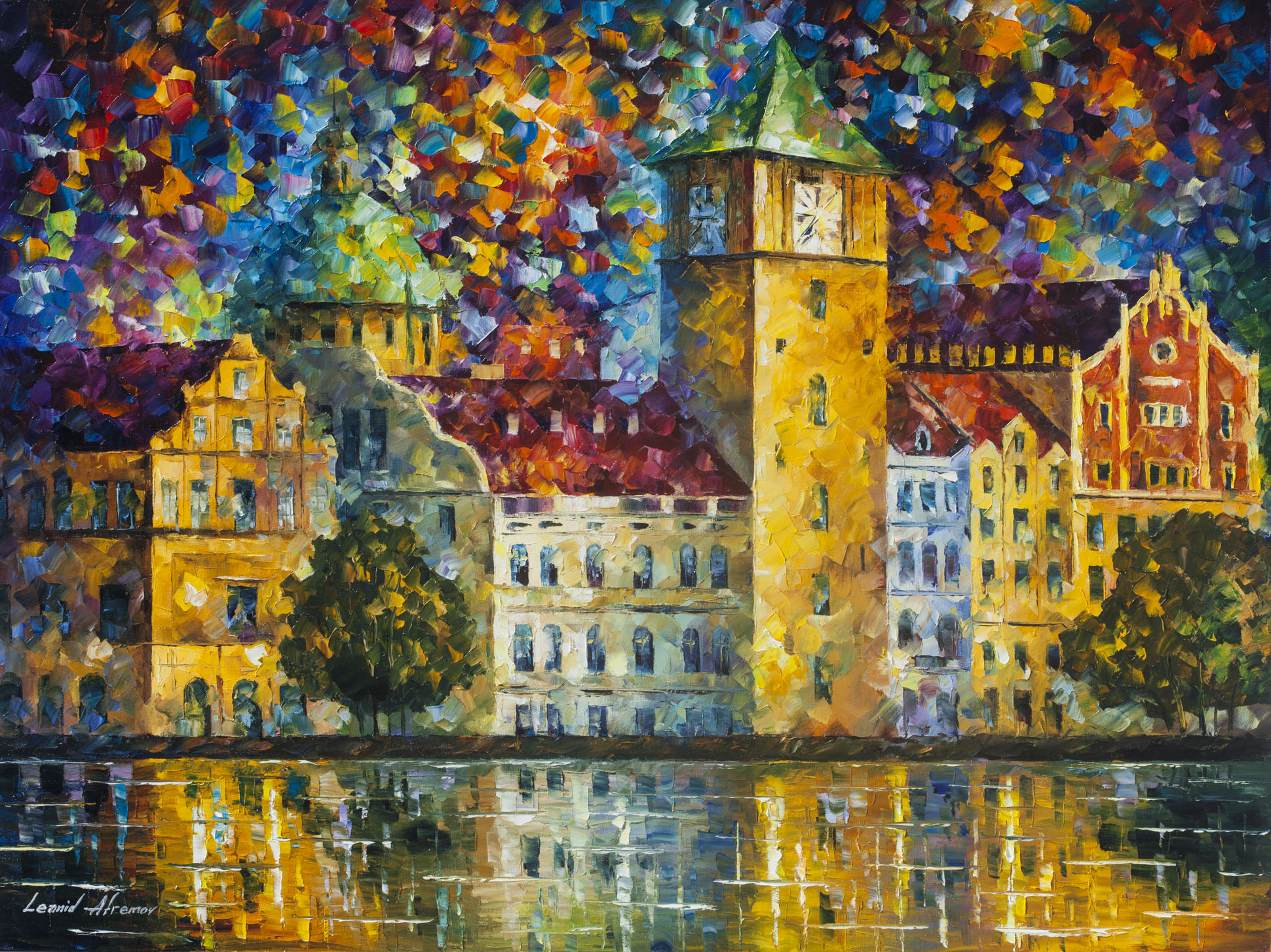 "Clock Tower by the River— Palette Knife Oil Painting On Canvas By Leonid Afremov - Size 40""x30"" (100cm x 75cm)"