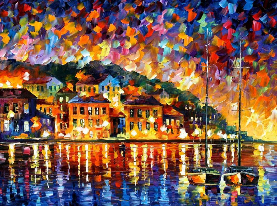 "GREECE — PALETTE KNIFE Oil Painting On Canvas By Leonid Afremov - Size 72""X48"" (STRETCHED TO UK)"
