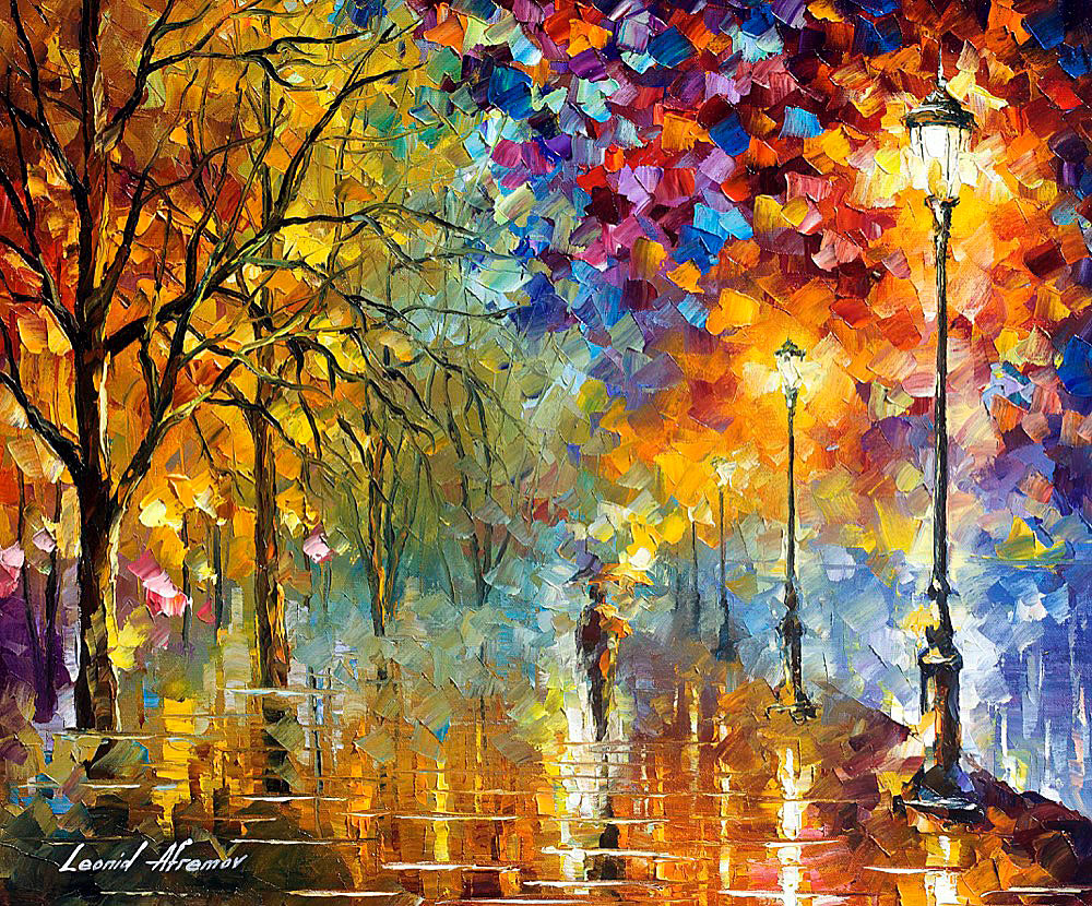 "LIGHTS OF TRUST — PALETTE KNIFE Oil Painting On Canvas By Leonid Afremov - Size 40""x30"" (100cm x 75cm)"