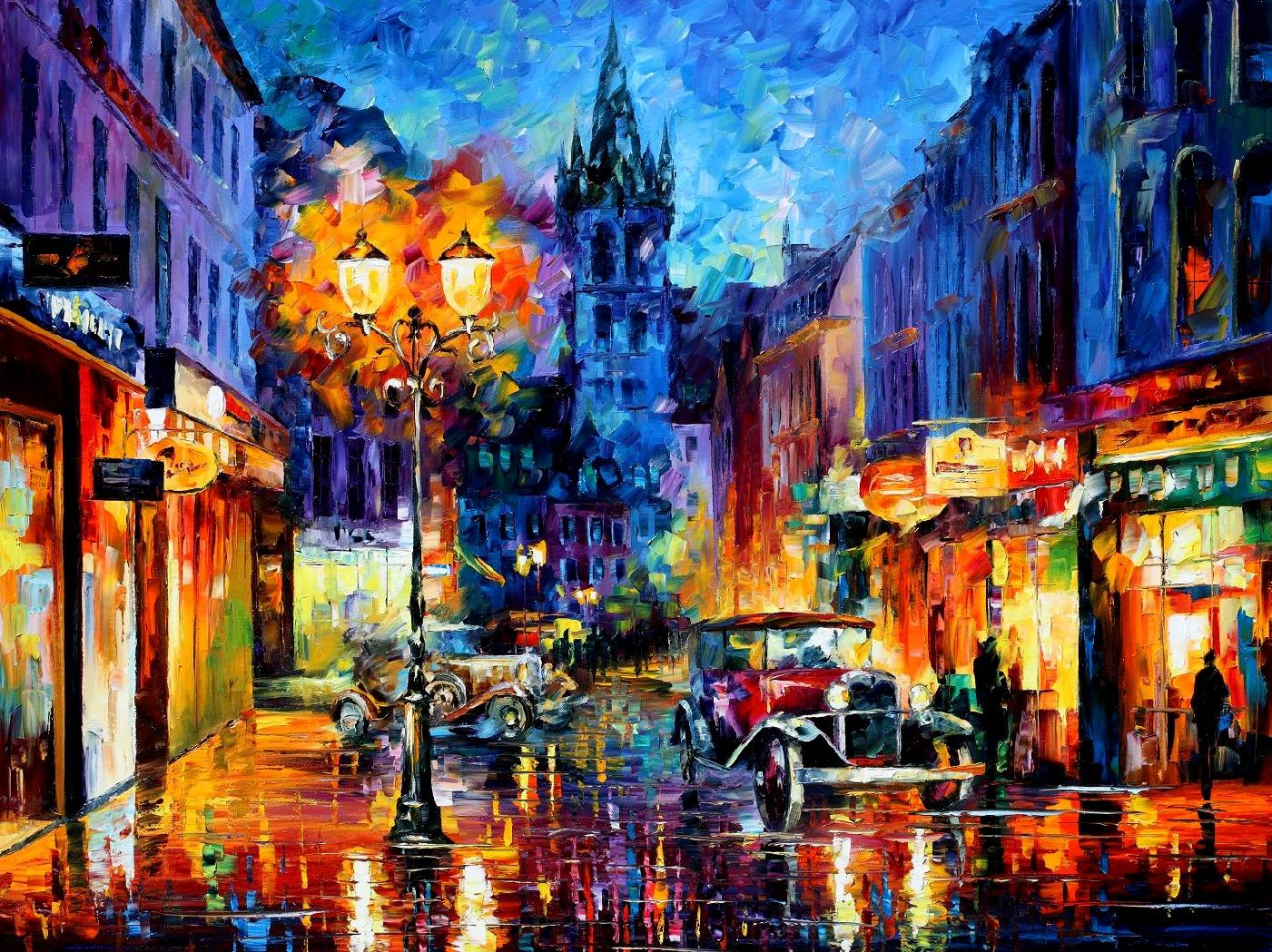 "Amsterdam 1905 — PALETTE KNIFE Oil Painting On Canvas By Leonid Afremov - Size 72""x48"""