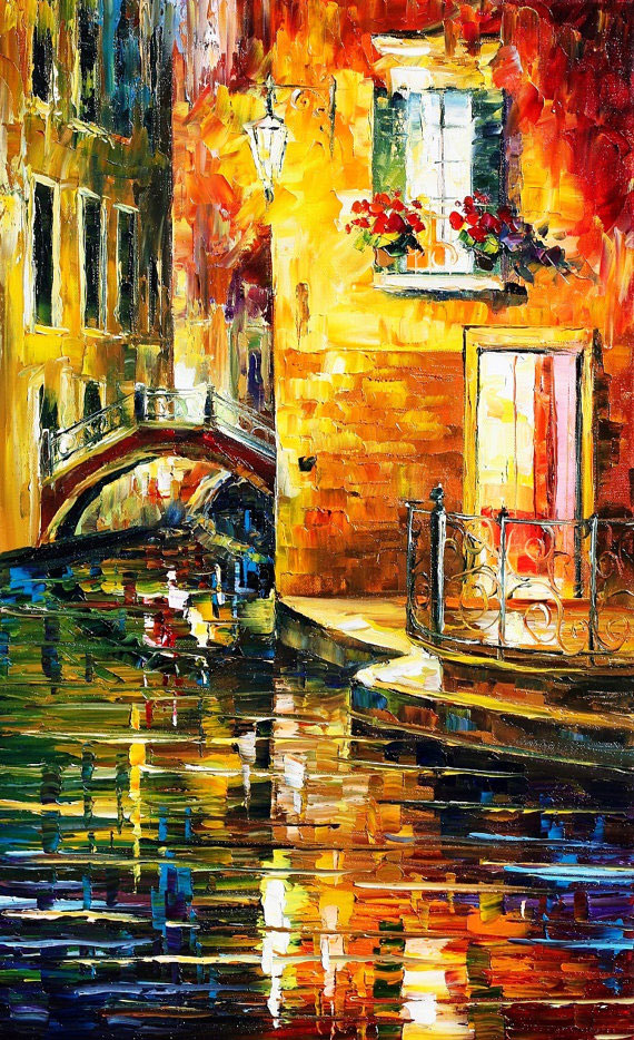 "SECRETS OF VENICE — PALETTE KNIFE Oil Painting On Canvas By Leonid Afremov - Size 16""x26"""