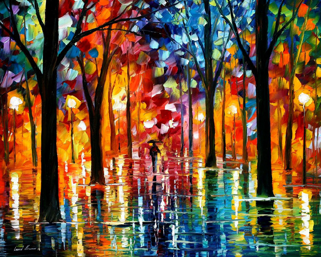 RAIN OF FIRE — PALETTE KNIFE Oil Painting On Canvas By Leonid Afremov - Size