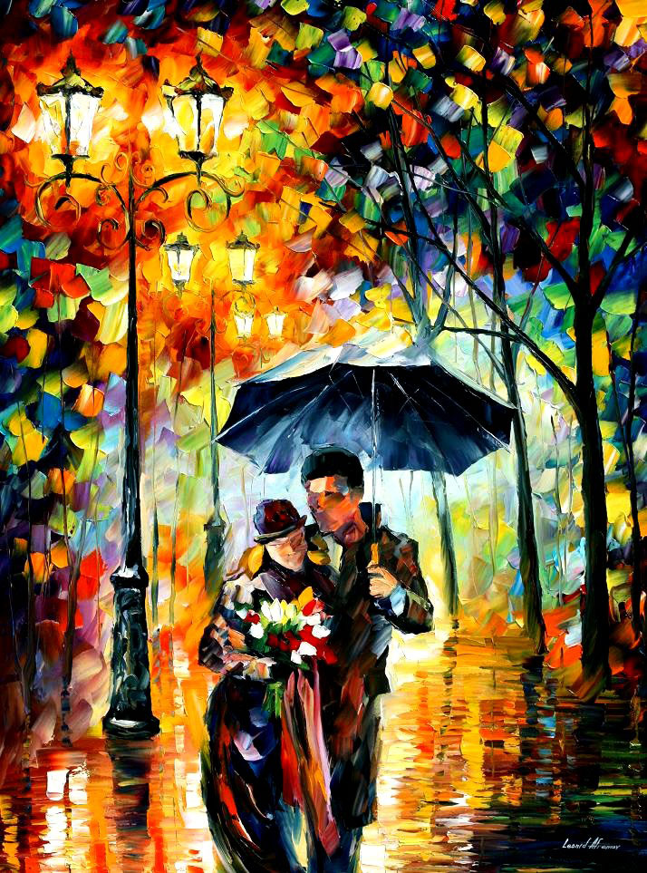 "WARM NIGHT —Original Oil Painting On Canvas By Leonid Afremov - Size 30""x40"""