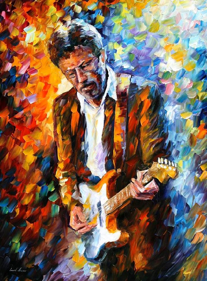 "ERIC CLAPTON— Palette Knife  Oil Painting On Canvas By Leonid Afremov - Size 30""X40"" (75cm x 100cm) (offer)"