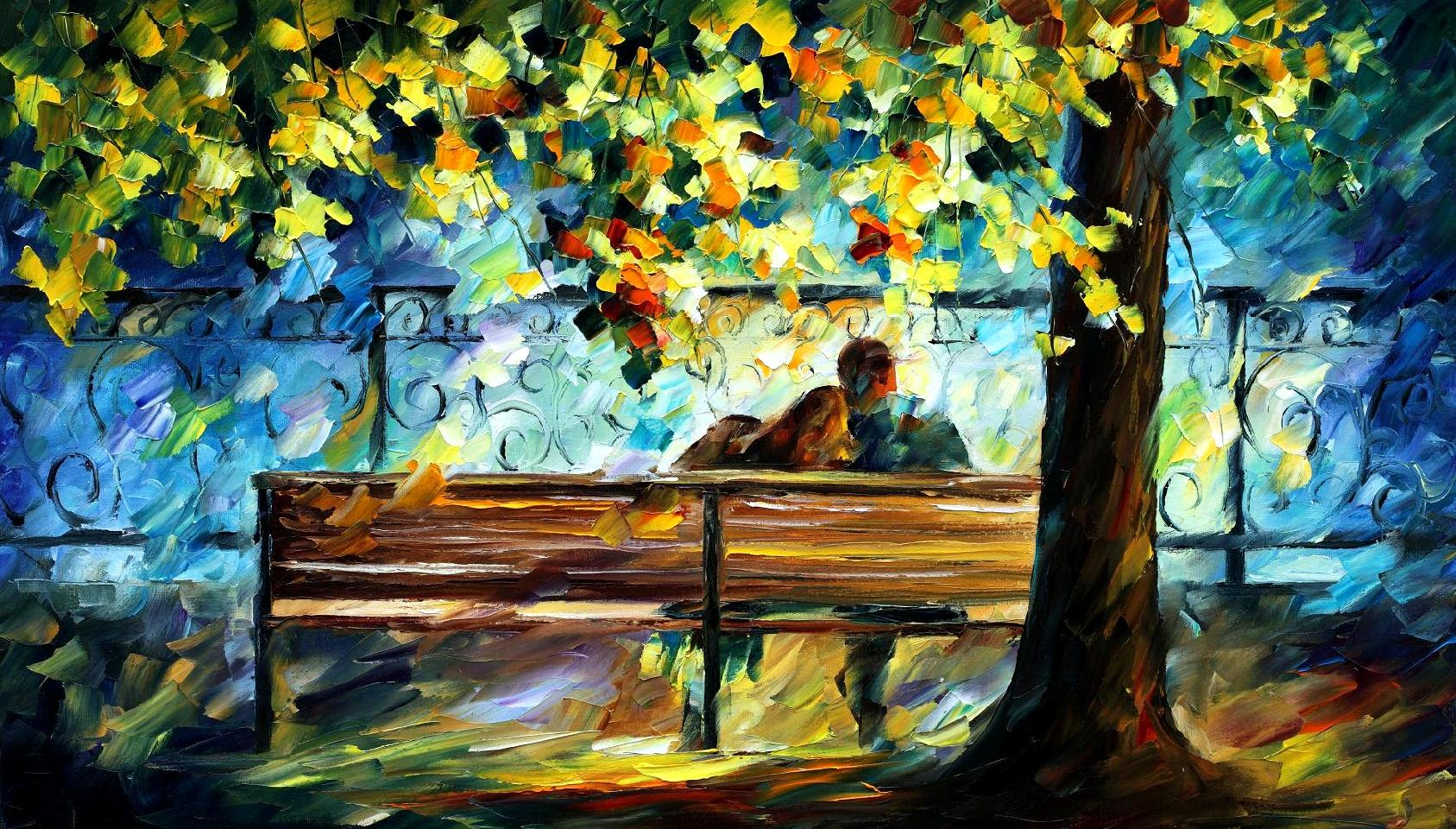 "LOVERS 2 — limited edition giclee On Canvas By Leonid Afremov - Size 36""x20"""