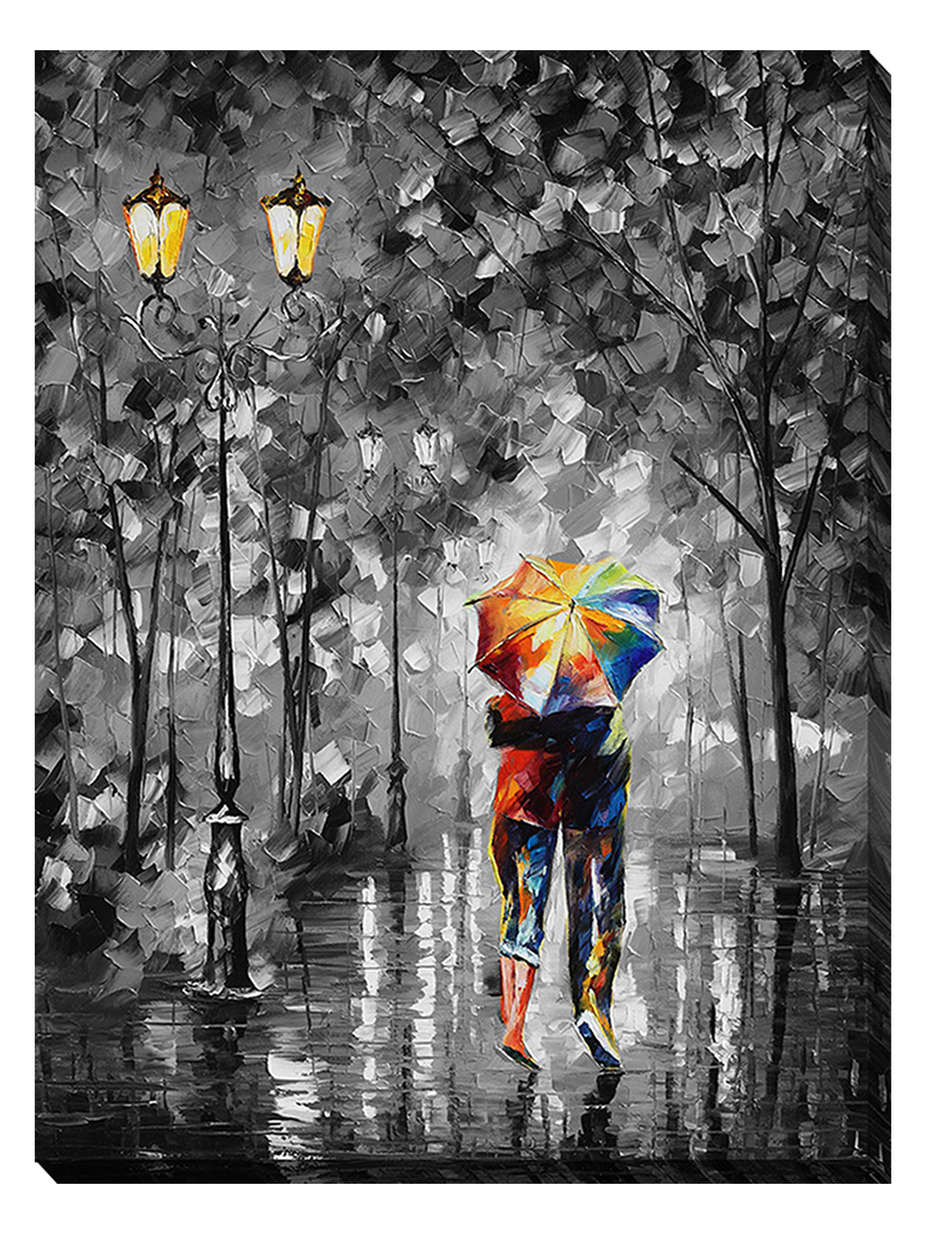 UNDER ONE UMBRELLA —Mixed media oil on canvas and limited edition giclee On Canvas By Leonid Afremov - Size 36x48