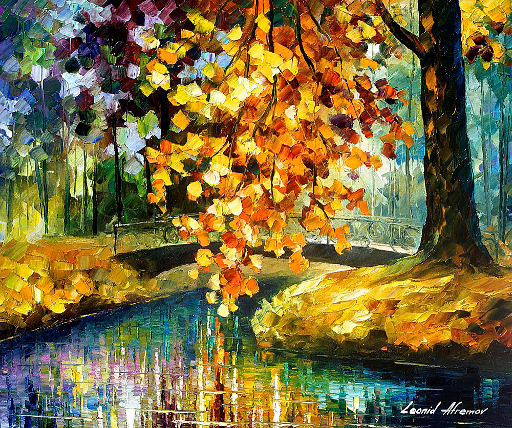 "BRANCH OVER WATER — Original Oil Painting On Canvas By Leonid Afremov - Size 20""x24"" (50cm x 60cm)"
