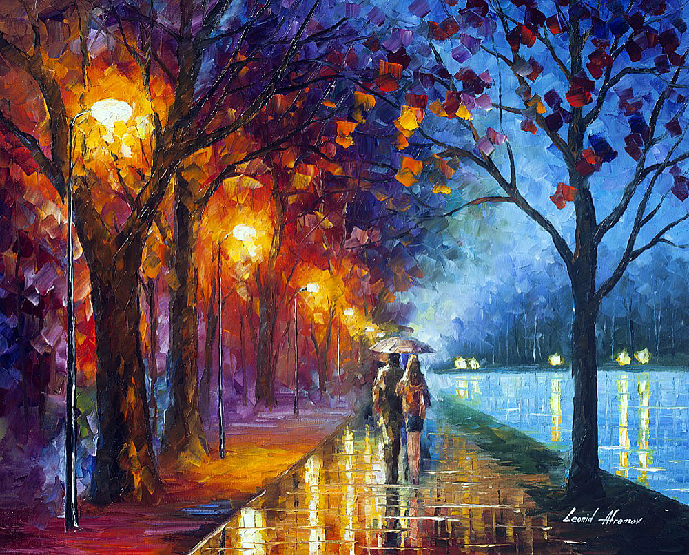 "ALLEY BY THE LAKE 3 — ORIGINAL Oil Painting On Canvas By Leonid Afremov - 30""X24"" (75cm x 60cm)"