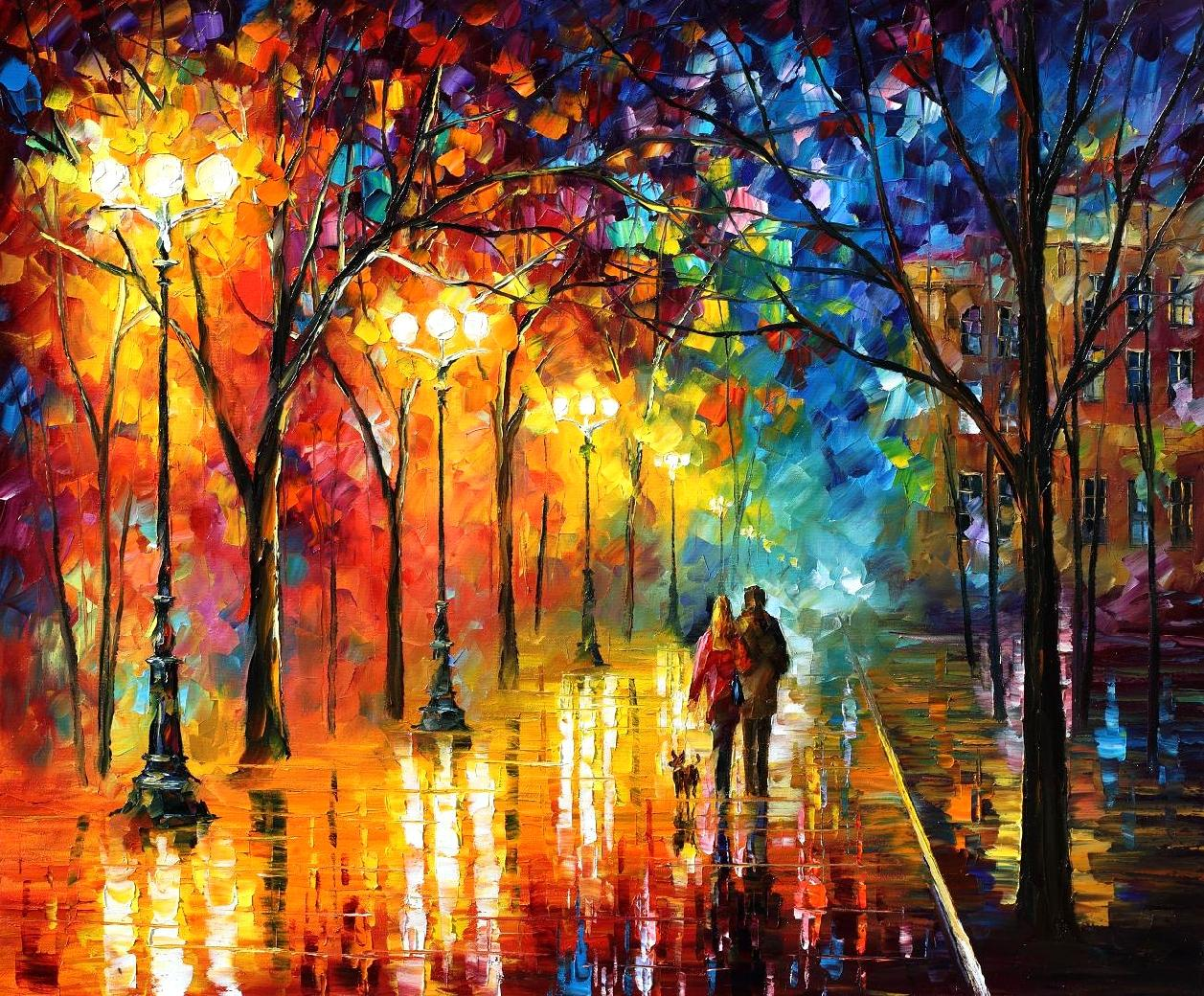 "NIGHT HAPPINESS — Palette Knife Oil Painting On Canvas By Leonid Afremov - Size 54""X40"" (135cm x 100cm)"
