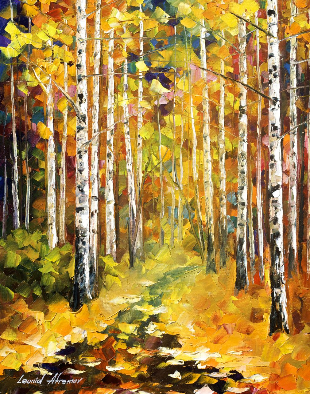 "TALL BIRCHES - Original Oil Painting On Canvas By Leonid Afremov - 16""x20"""