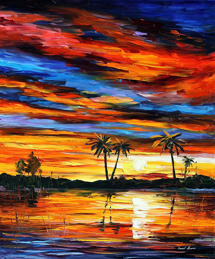"TROPICAL SUNSET — PALETTE KNIFE Oil Painting On Canvas By Leonid Afremov - Size 24""x30"" (60cm x 75cm)"