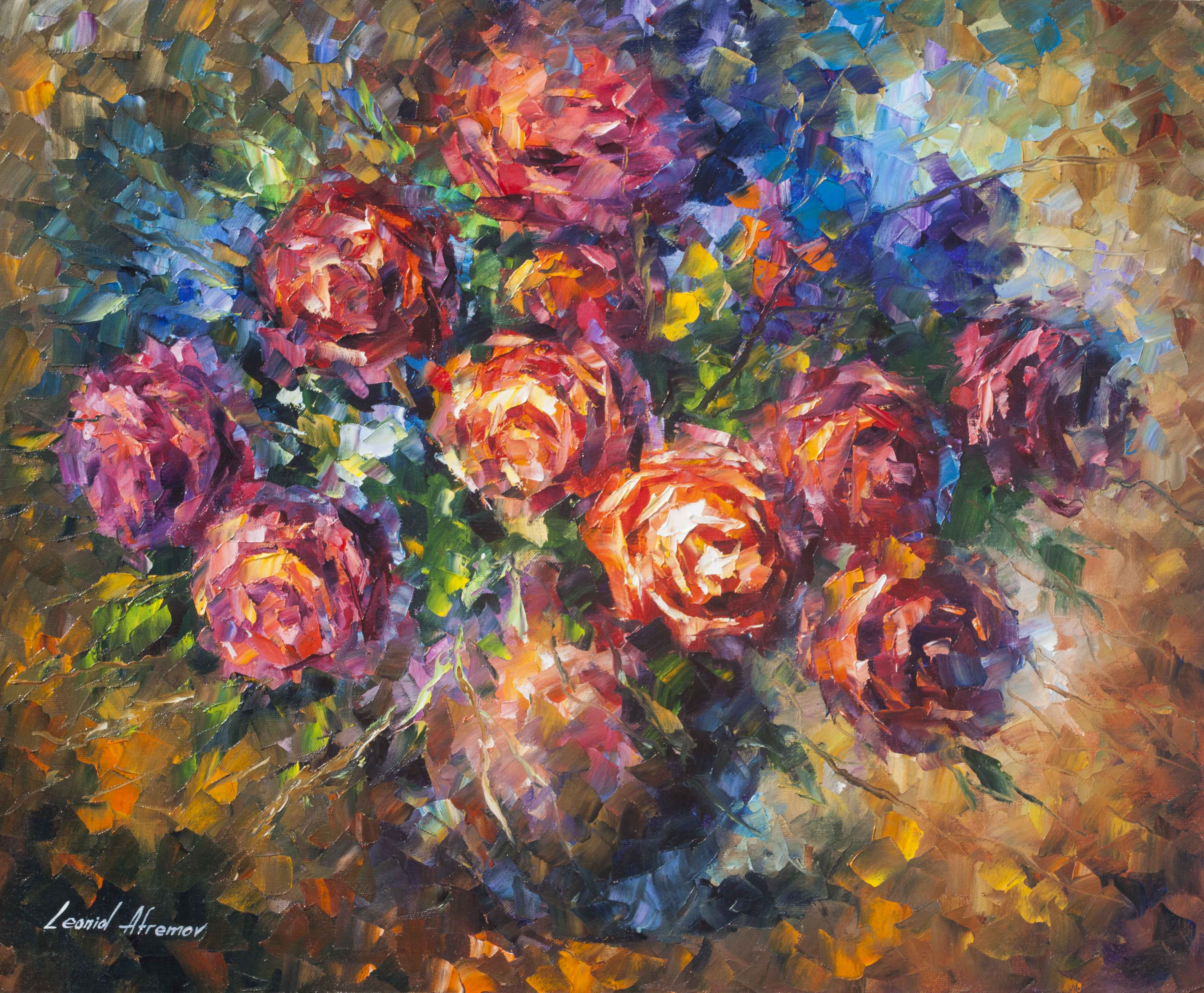"STRONG ROSES  -  Original Oil Painting On Canvas By Leonid Afremov - 20""X24"" (50cm x 60cm)"