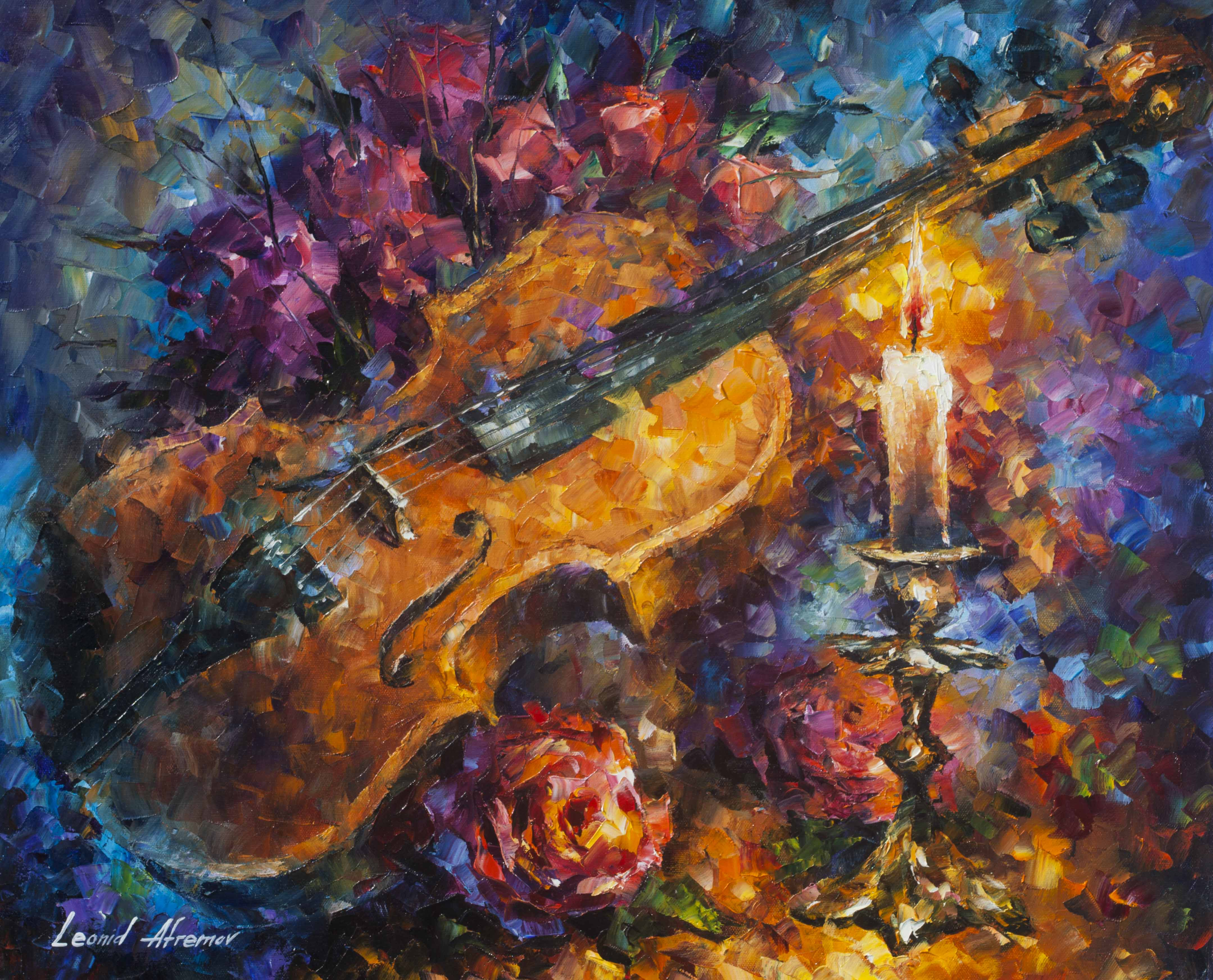 "MOZZART'S VIOLIN  -  Original Oil Painting On Canvas By Leonid Afremov - 20""X24"" (50cm x 60cm)"