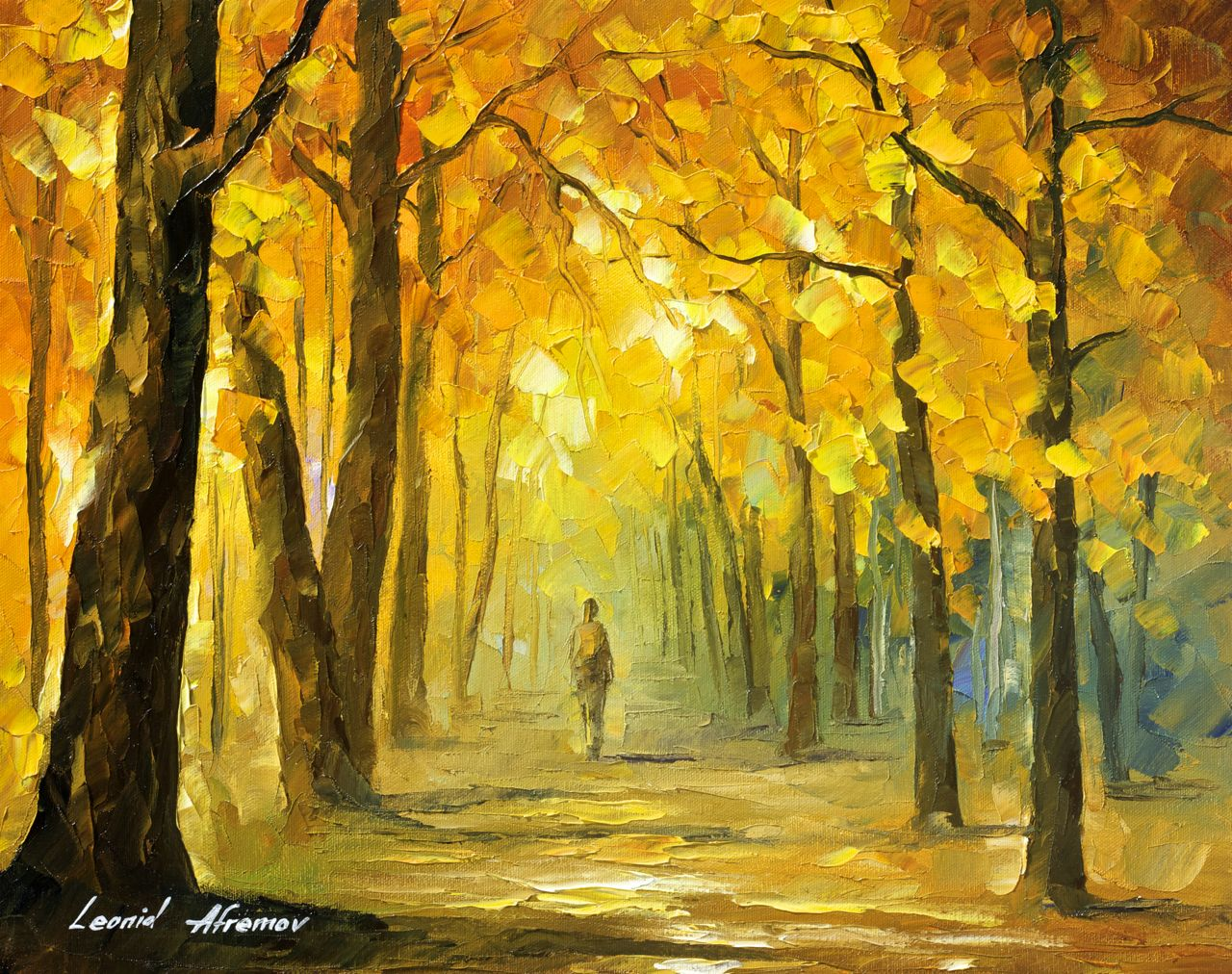 "ALONE IN THE WOODS - Original Oil Painting On Canvas By Leonid Afremov - 20""x16"""