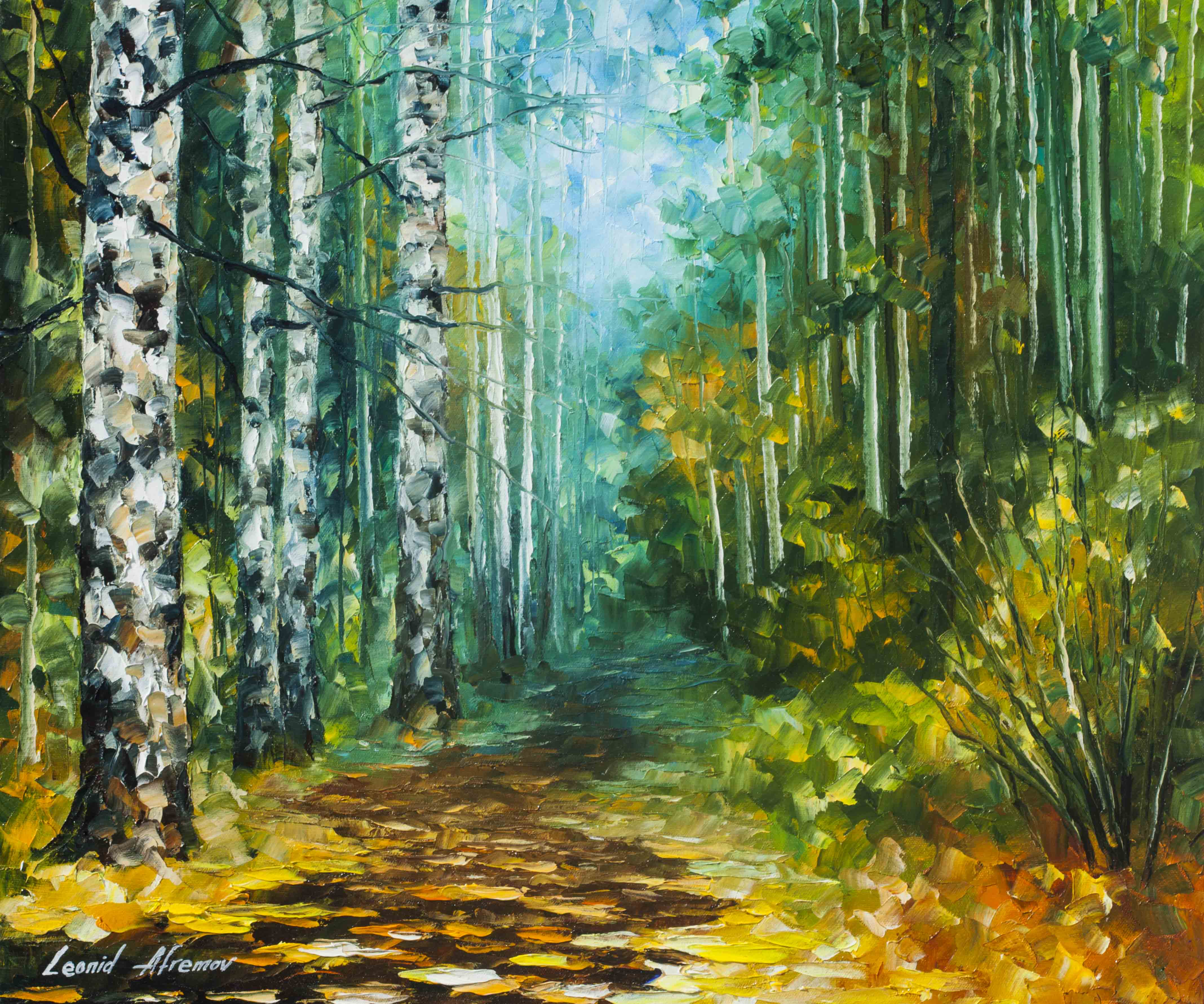 "SPRING BIRCHES   -  Original Oil Painting On Canvas By Leonid Afremov - 20""X24"" (50cm x 60cm)"
