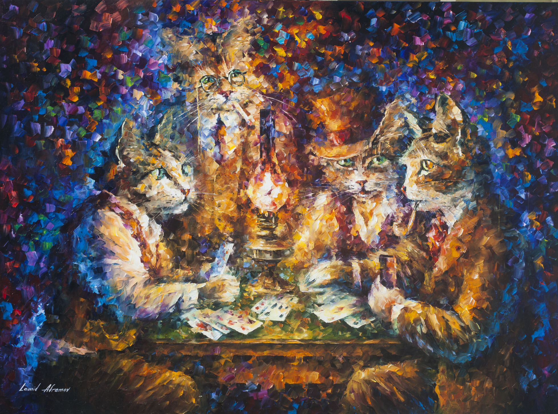 "Cat Game - Original Oil Painting On Canvas By Leonid Afremov - 42""X57"""