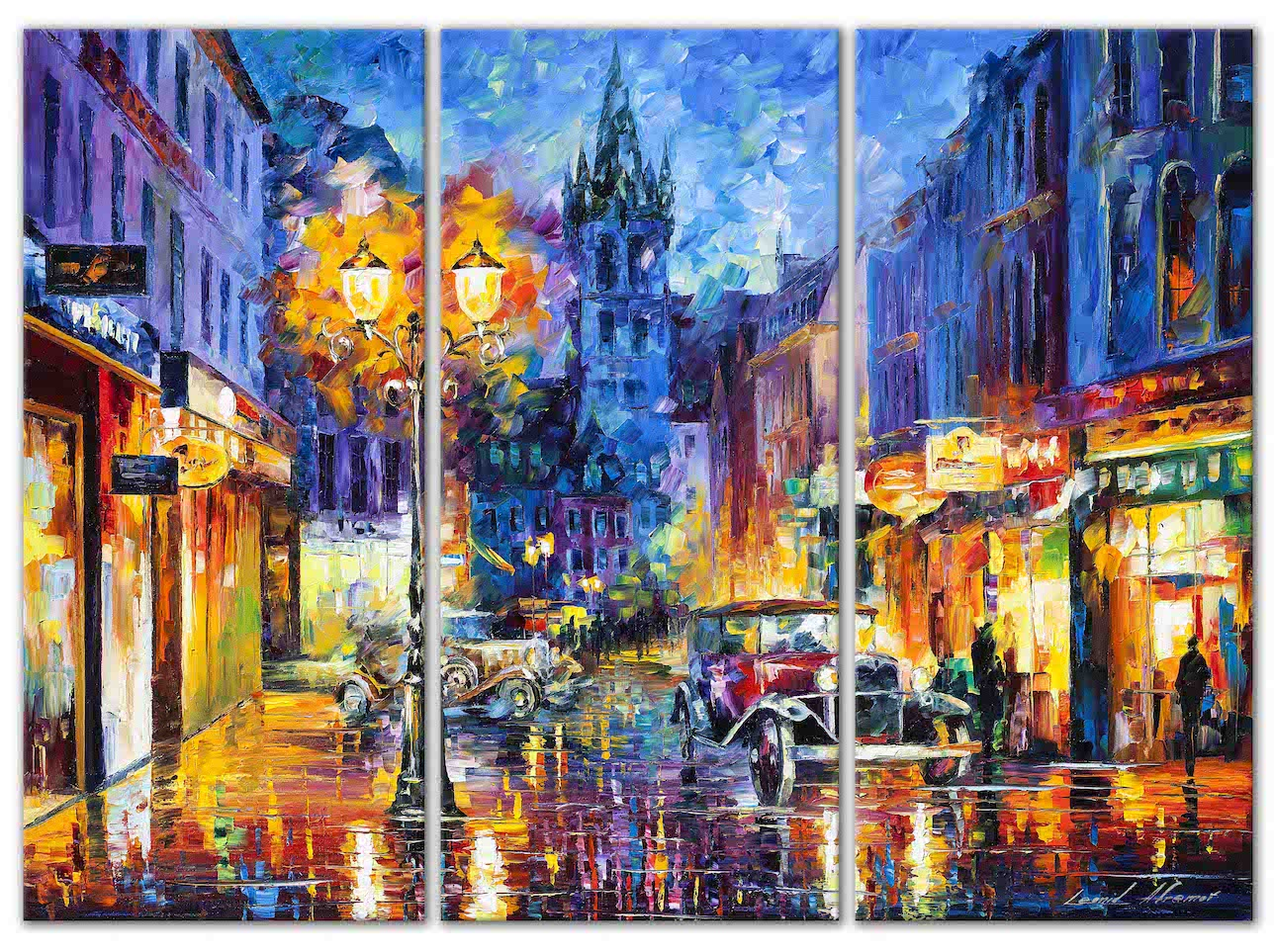 "Amsterdam 1905— SET OF 3 ORIGINAL  Oil PaintingS On Canvas By Leonid Afremov - Size 60""X48"""