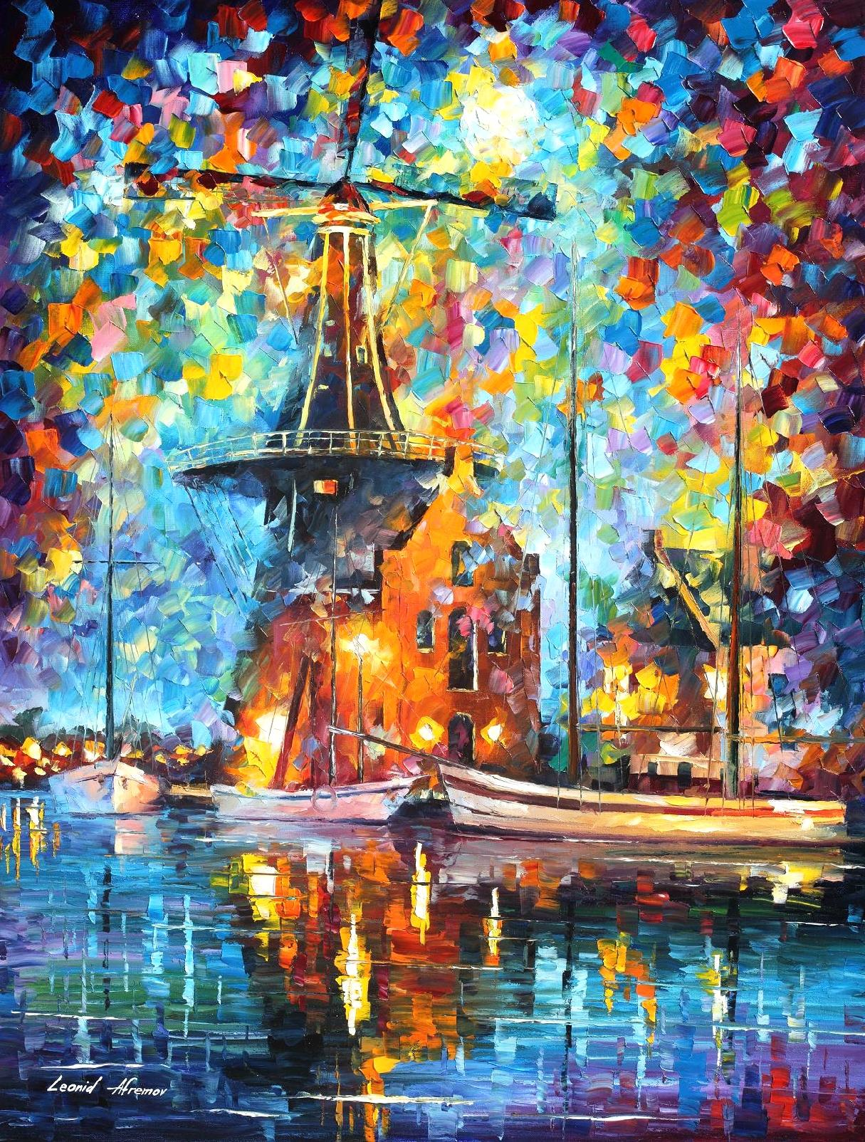 "A MILL NEAR AMSTERDAM- PRINT On Canvas By Leonid Afremov - 30""X40"" (75cm x 100cm)"