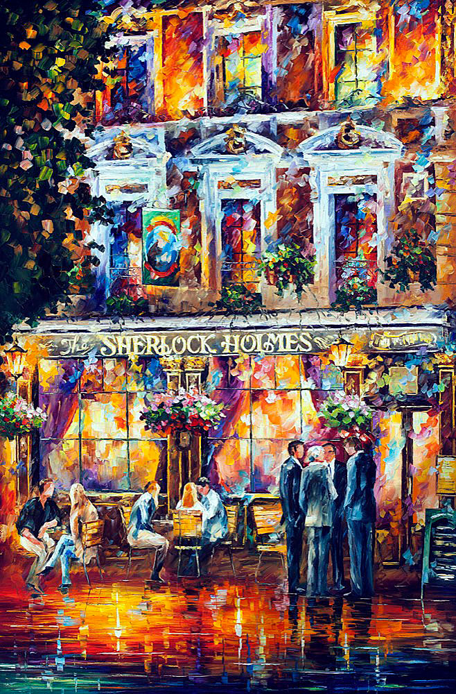 "SHERLOCK HOLMES — PRINT On Canvas By Leonid Afremov - Size 24""x40"" (60cm x 100cm)"