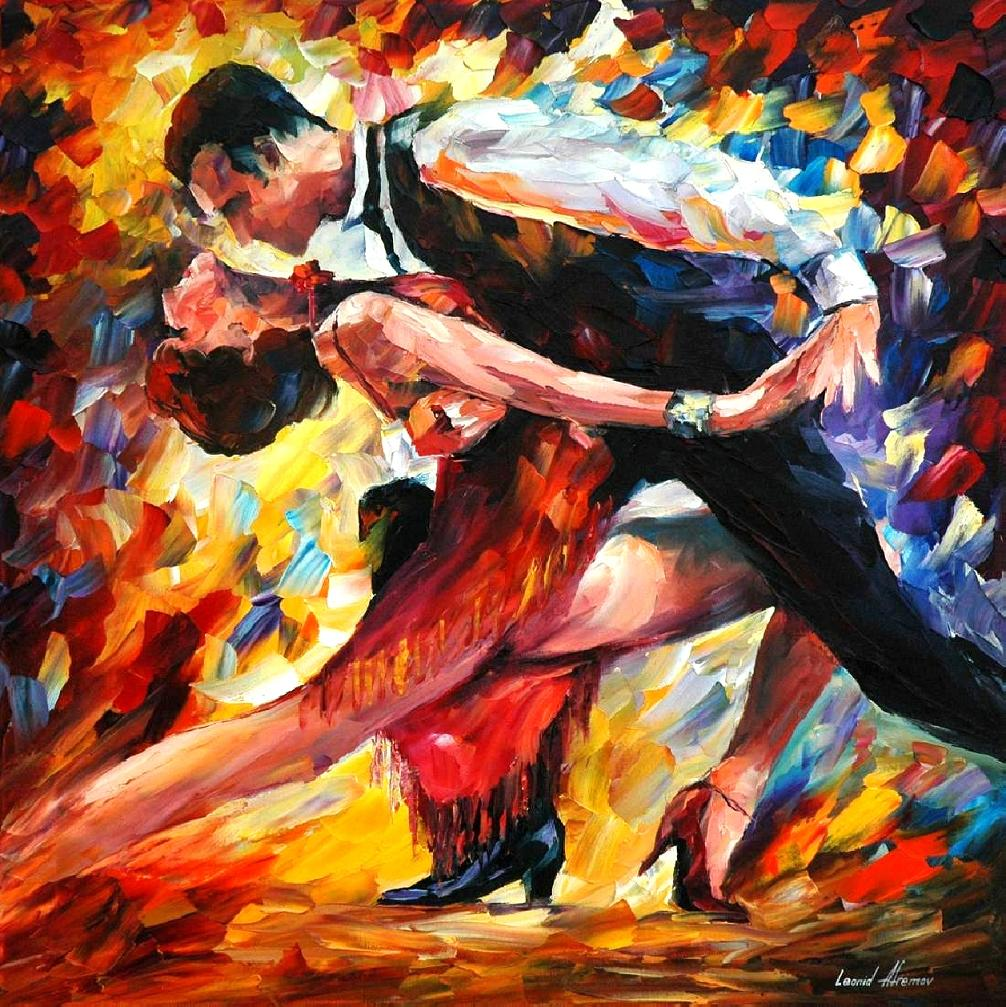 "TANGO OF PASSION — PRINT  on Canvas by Leonid Afremov  - Size 24""x24""  (60cm x 60cm)"