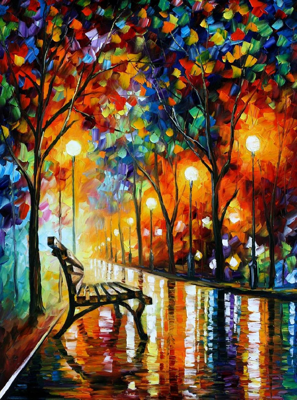 "LONELINESS OF AUTUMN - PRINT Oil Painting On Canvas By Leonid Afremov - Size 30""X40"""