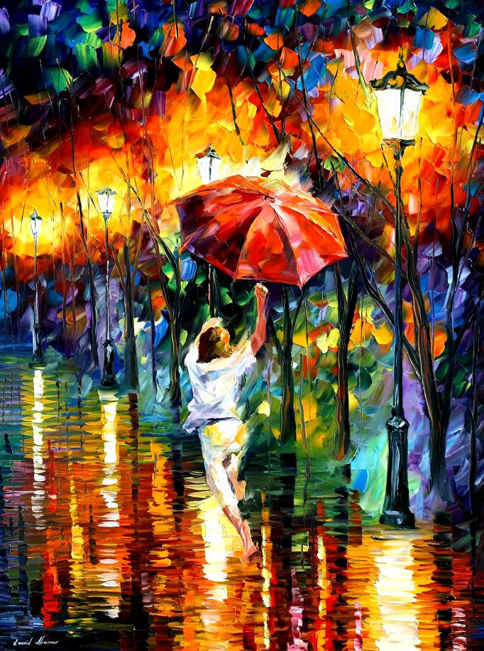 "RED UMBRELLA — PRINT On Canvas By Leonid Afremov - Size 30""X40"""