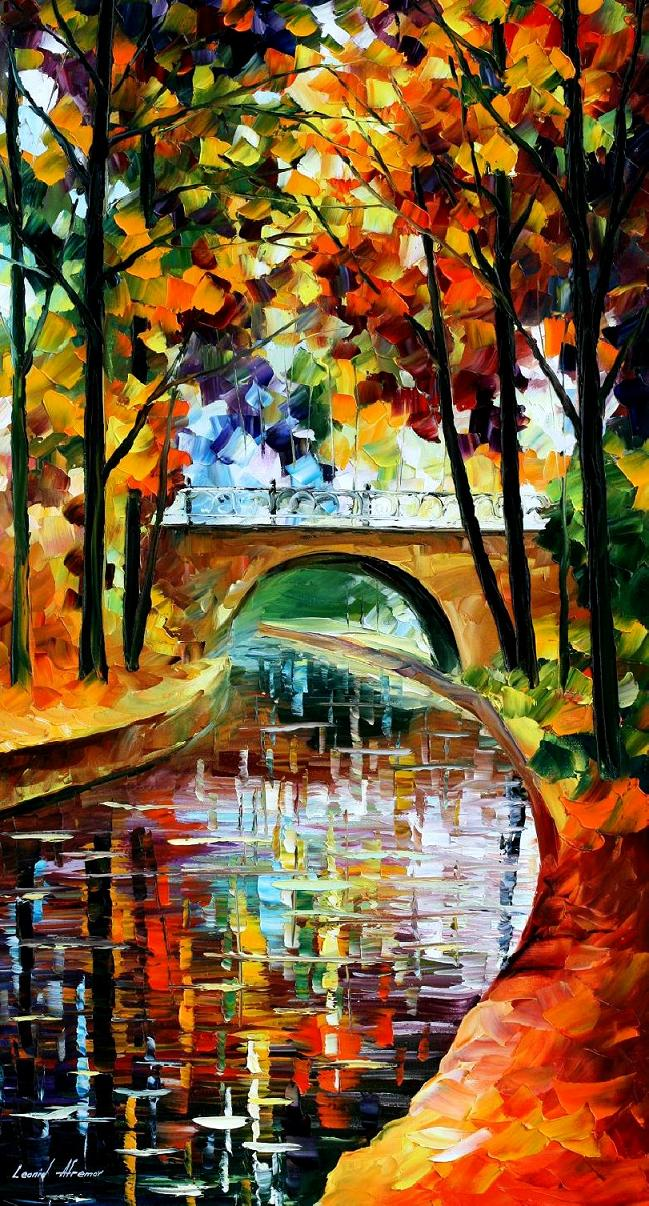 "DELIGHTFUL PARK— PRINT On Canvas By Leonid Afremov - Size 20""X36"" (50 cm x 90cm)"